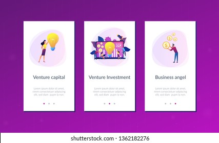 Capital fund financing small firm with high growth potential. Venture capital, venture investment, venture financing, business angel concept. Mobile UI UX GUI template, app interface wireframe