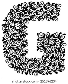 Capital G in floral pattern, can be used as paper cut. All parts are connected.
