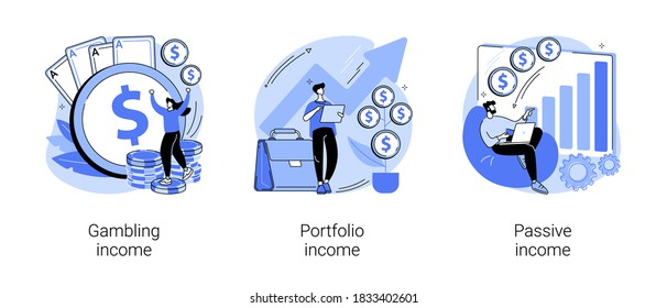 Capital gain abstract concept vector illustration set. Gambling, portfolio and passive income, online casino, investments and bonds, cash flow, money slot, mutual fund, finance abstract metaphor. - Shutterstock ID 1833402601