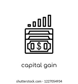 capital gain icon. Trendy modern flat linear vector capital gain icon on white background from thin line Capital gain collection, outline vector illustration