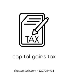 capital gains tax icon. Trendy modern flat linear vector capital gains tax icon on white background from thin line Capital gains tax collection, outline vector illustration