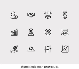 Capital icons set. Agriculture investment and capital icons with investment services, staff training and investment target. Set of elements including corporate for web app logo UI design.