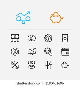Capital icons set. Petroleum and capital icons with stability, mutual funds and savings. Set of diagram for web app logo UI design.