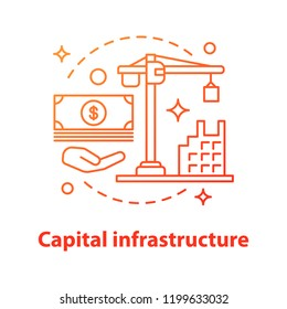 Capital infrastructure concept icon. Building development idea thin line illustration. Construction investment. Vector isolated outline drawing