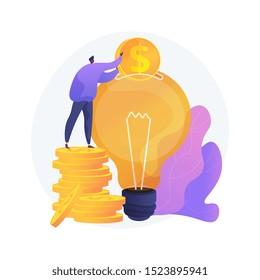 Capital investment, sponsorship. Money donation, startup funding, financial support. Philanthropy design element. Investor putting money in light bulb. Vector isolated concept metaphor illustration