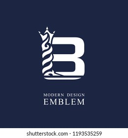 Capital letter B. Graceful royal style. Minimal art design. Elegant logo with wavy elements. Drawn emblem for brand name company, business card, Restaurant, Boutique, Hotel, Sport. Vector illustration
