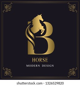 Capital Letter B with a Horse. Royal Logo. King Stallion in Jump. Racehorse Head Profile. Gold Monogram on Black Background with Border. Stylish Graphic Template Design. Tattoo. Vector illustration