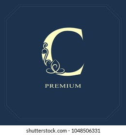 Capital letter C. Calligraphic beautiful logo with tape for labels. Graceful style. Vintage drawn emblem for book design, brand name, business card, Restaurant, Boutique, Hotel. Vector illustration