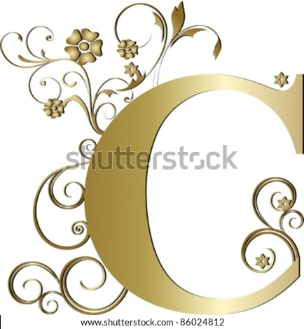 Capital Letter C Gold Stock Vector Royalty Free 86024812
