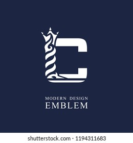 Capital letter C. Graceful royal style. Minimal art design. Elegant logo with wavy elements. Drawn emblem for brand name company, business card, Restaurant, Boutique, Hotel, Sport. Vector illustration