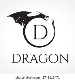 Capital letter D inside circular dragon frame, vector monogram logo template