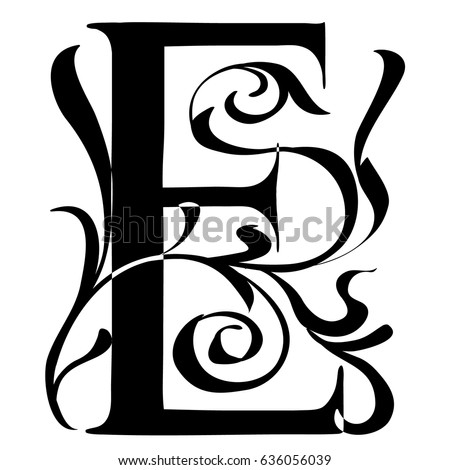 Capital Letter E Large Letter Illuminated Stock Vector (Royalty