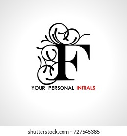 Capital letter F . Decorated with vegetable ornament. Template for your logo, emblems, monograms, initials