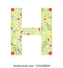 Capital Letter H, Green Floral Alphabet Element, Font Uppercase Letter Made of Leaves and Flowers Pattern Vector Illustration