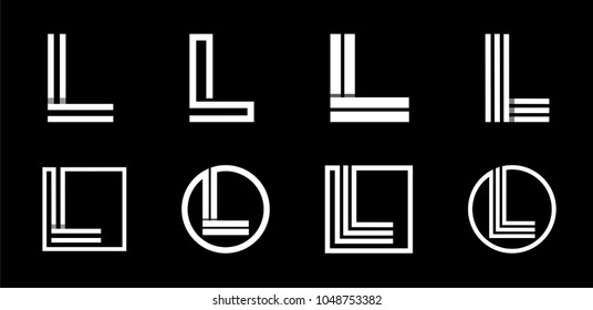 Capital letter L. Modern set for monograms, logos, emblems, initials. Made of white stripes Overlapping with shadows