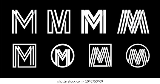 Capital letter M. Modern set for monograms, logos, emblems, initials. Made of white stripes Overlapping with shadows