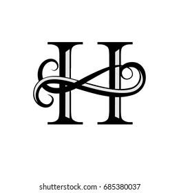 Capital Letter for Monograms and Logos. Beautiful letter. Black vector letter H. Design modern element logotype on white background.