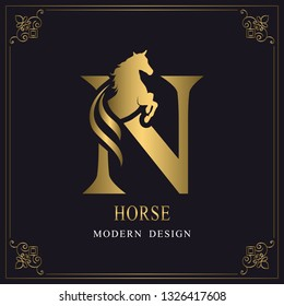 Capital Letter N with a Horse. Royal Logo. King Stallion in Jump. Racehorse Head Profile. Gold Monogram on Black Background with Border. Stylish Graphic Template Design. Tattoo. Vector illustration