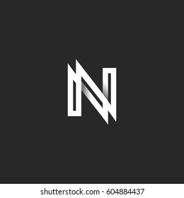 Capital letter N logo monogram. Overlapping thin line with shadows black and white stylish typography design element. Linear NN initials emblem mockup.