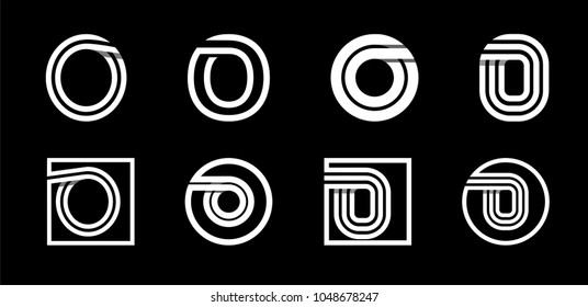 Capital letter O. Modern set for monograms, logos, emblems, initials. Made of white stripes Overlapping with shadows