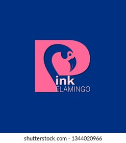 Capital letter P with bird. Pink flamingo. Logo, emblem. Blue background. The inscription can be used for environmental posters, a thematic site with a place for information.