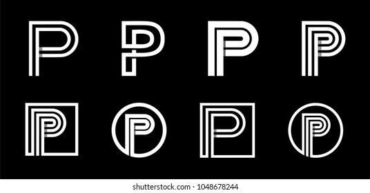 Capital letter P. Modern set for monograms, logos, emblems, initials. Made of white stripes Overlapping with shadows