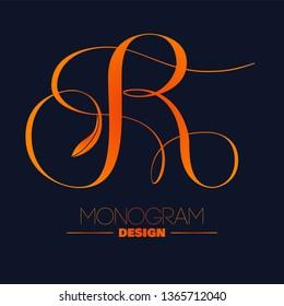 Capital Letter R monogram design