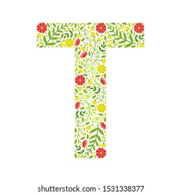 Capital Letter T, Green Floral Alphabet Element, Font Uppercase Letter Made of Leaves and Flowers Pattern Vector Illustration