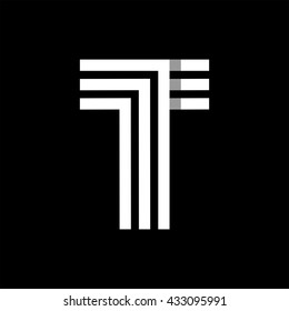 Capital letter T. Made of of three white stripes Overlapping with shadows. Logo, monogram, emblem trendy design.