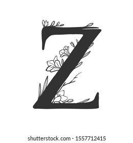 Capital letter Z with flowers. Vector floral monogram with floral elements. Botanical logo isolated on white.