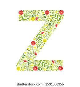 Capital Letter Z, Green Floral Alphabet Element, Font Uppercase Letter Made of Leaves and Flowers Pattern Vector Illustration