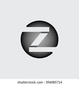 Capital letter Z. Made of wide white stripes Overlapping with shadows. Logo, monogram, emblem trendy design.