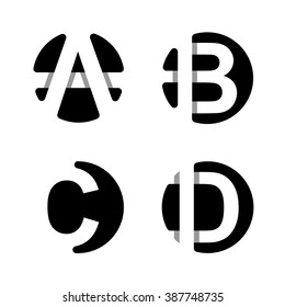 Capital letters A, B, C, D. From  white stripe in a black circle.   Overlapping with shadows. Logo, monogram, emblem trendy design.