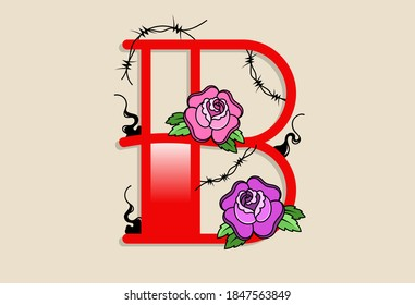 Capital Letters B in traditional style tattoo decoration with rose flower and barbed wire