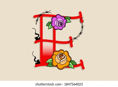 Capital Letters E in traditional style tattoo decoration with rose flower and barbed wire