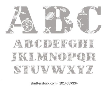 Capital letters of the English alphabet. Nautical theme. The attributes of sea travel. Hatching a white pencil on the grey background. Imitation.