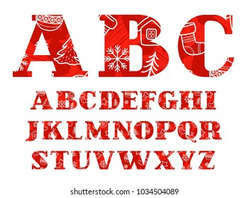 Capital letters of the English alphabet. New year and winter fun. White line drawings on a red background. Color font with serif. Vector clip art.