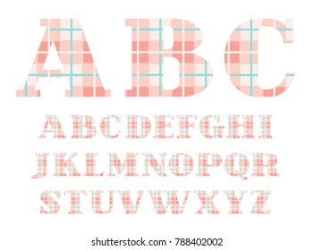 Capital Letters Of The English Alphabet With Serifs Checkered Vector Font Pink