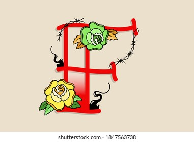 Capital Letters F in traditional style tattoo decoration with rose flower and barbed wire