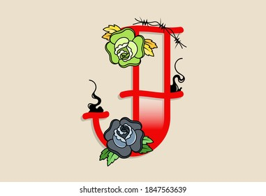 Capital Letters J in traditional style tattoo decoration with rose flower and barbed wire