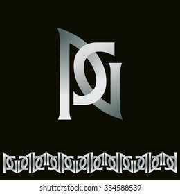 Capital letters p and g. Vector monogram and border.