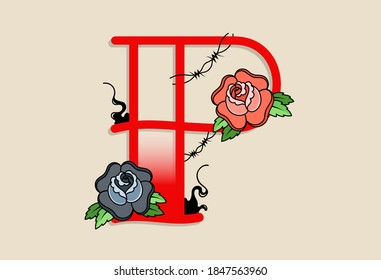 Capital Letters P in traditional style tattoo decoration with rose flower and barbed wire
