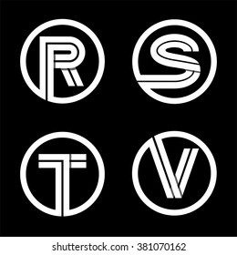 Capital letters R, S, T, V. From double white inscribed in a circle.  Overlapping with shadows. Logo, monogram, emblem trendy design.