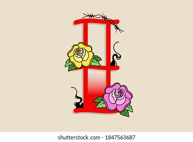 Capital Letters I in traditional style tattoo decoration with rose flower and barbed wire