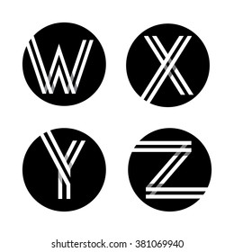 Capital letters W, X, Y, Z. From double white stripe in a black circle. Overlapping with shadows. Logo, monogram, emblem trendy design.