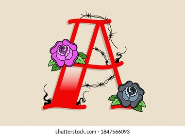 Capital Letters Y in traditional style tattoo decoration with rose flower and barbed wire