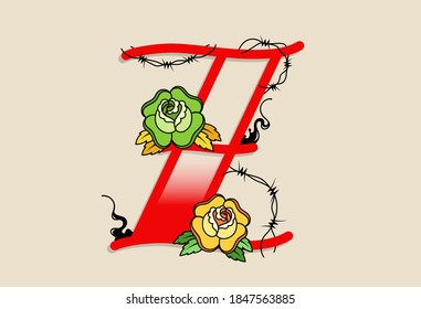Capital Letters Z in traditional style tattoo decoration with rose flower and barbed wire