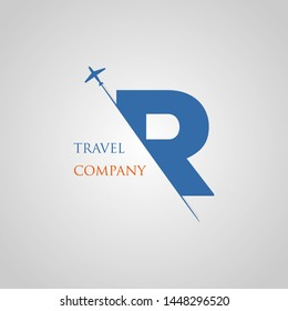 Capital R letter is inserted in the paper slot with the plane slice letter R for travel logo.