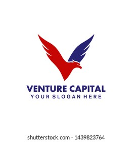 Capital V Made From Flying Eagle Logo Concept