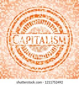 Capitalism abstract orange mosaic emblem
